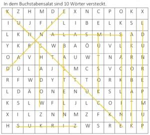Buchstabensalat, 10 Wörter