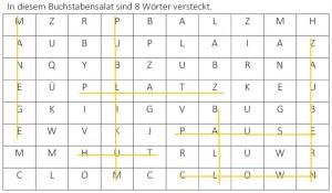 Buchstabensalat, 8 Wörter