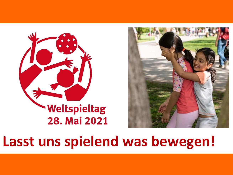 Logo Weltspieltag 2021 / Foto: 2 spielende Kinder (Fotografin: Verena Günther)